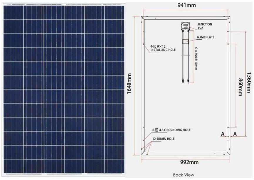 polycrystalline solar panel dimention